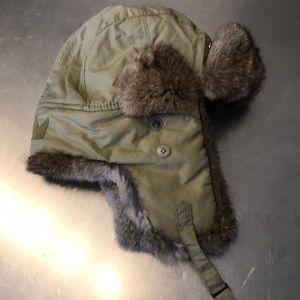 CrownCap Genuine Rabbit Fur Trim trapper Hat